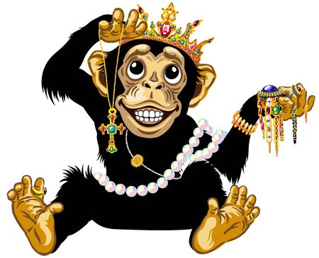 cartoon chimp monkey or chimpanzee great ape wearing a gold crown, playing with gemstone jewelry and holding a necklace with golden cross, feels admiration, expresses joyful emotions, has toothy smile. Isolated vector illustration Stock Illustratie
