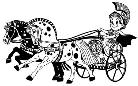 cartoon boy warrior in a roman chariot pulled by two horses. Black and white outline vector illustration for little kids