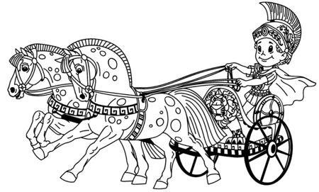 niño guerrero de dibujos animados en un carro romano tirado por dos caballos. Ilustración de vector de contorno blanco y negro. Página para colorear para niños pequeños Ilustración de vector