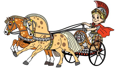 garçon de bande dessinée dans un char de guerre romain tiré par deux chevaux. Illustration vectorielle pour les petits enfants