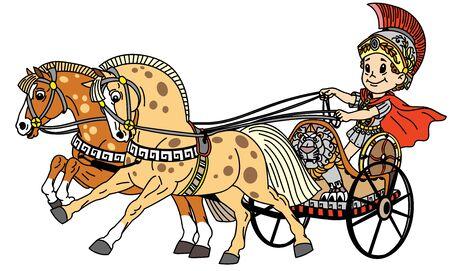 niño de dibujos animados en un carro de guerra romano tirado por dos caballos. Ilustración de vector para niños pequeños