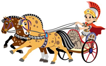 cartoon boy in a roman war chariot pulled by two horses. Vector illustration for little kids