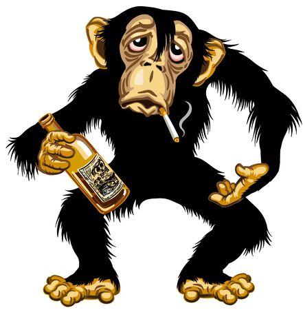 Cartoon betrunkener Schimpanse großer Affe, der eine leere Flasche Alkohol hält und eine Zigarette raucht. Schimpanse alkoholisch. Isolierte Vektorillustration Vektorgrafik