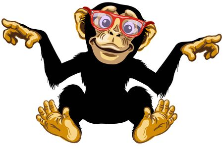 cartoon chimp ape or chimpanzee monkey wearing glasses and smiling cheerful with a big smile on face. Positive and happy emotion. Sitting pose. Front view. Isolated vector illustration
