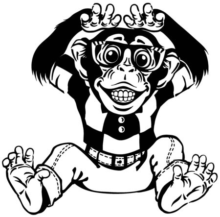 cartoon chimp great ape or chimpanzee monkey wearing glasses and smiling with a big smile on face showing teeth. Positive and happy emotion. Front view. Black and white vector illustration