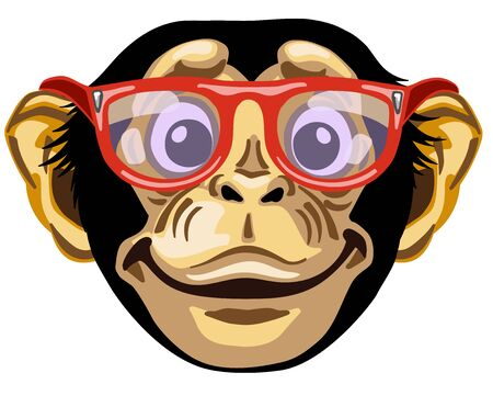 Head of cartoon chimp ape or chimpanzee monkey wearing glasses and smiling cheerful with a big smile. Positive and happy emotion. Front view. Isolated vector illustration