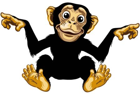 cartoon chimp ape or chimpanzee monkey smiling cheerful with a big smile on face. Positive and happy emotion. Sitting pose. Front view. Isolated vector illustration