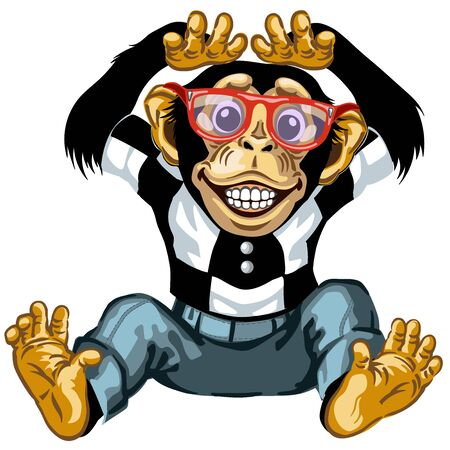 cartoon chimp great ape or chimpanzee monkey wearing glasses and smiling with a big smile on face showing teeth. Positive and happy emotion. Front view. Isolated vector illustration Stock Illustratie