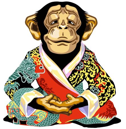 cartoon chimp great ape or chimpanzee monkey wearing red kimono robe and sitting in lotus yoga pose. Meditating calm and peaceful emotion. Front view. Isolated vector illustration