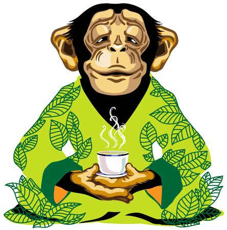 cartoon chimp great ape or chimpanzee monkey wearing kimono robe with green tea leaves, sitting in lotus yoga pose and holding a cup of tea. Spiritual harmony and peaceful emotion. Front view. Isolated vector illustration Stock Illustratie