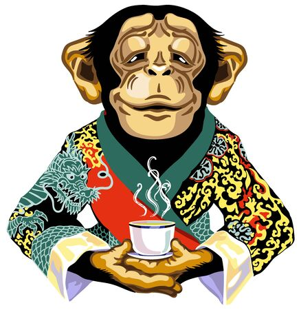 cartoon chimp great ape or chimpanzee monkey wearing red kimono robe and  holding mug of tea. Calm concentration and peaceful emotion. Front view. Isolated vector illustration Stock Illustratie