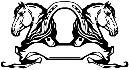 two heads of horses in profile. Banner, emblem with horseshoe and ribbon scroll. Black and white side view vector