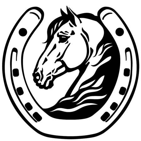 testa di cavallo nel ferro di cavallo. Icona, emblema. Vettore in bianco e nero