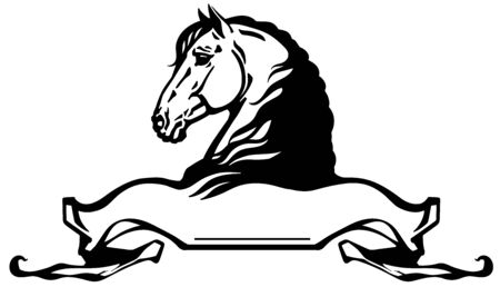 heads of horses in profile. Banner, emblem with ribbon scroll. Side view black and white side view vector