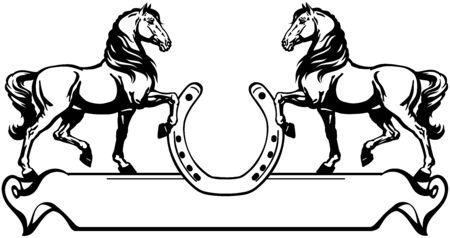 due cavalli di profilo. Banner, emblema con ferro di cavallo e rotolo di nastro. Vettore di vista laterale in bianco e nero Vettoriali
