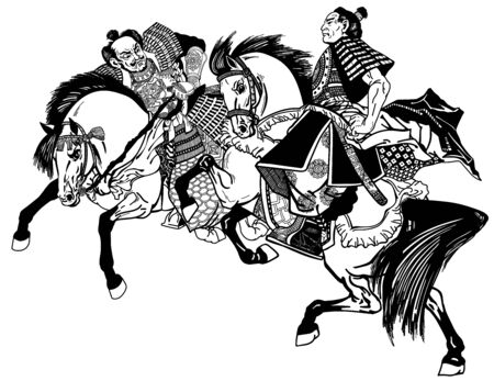 two Japanese Samurai horsemen sitting on horseback and wearing medieval armor. East Asia warriors riding pony horses in the gallop. Black and white graphic style vector illustration