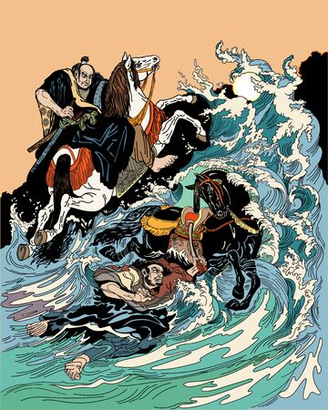 Two samurai horsemen crossing a stormy sea. One warrior with a black horse swimming in water, another man rider on land riding white horse. Graphic style vector illustration Stock Illustratie