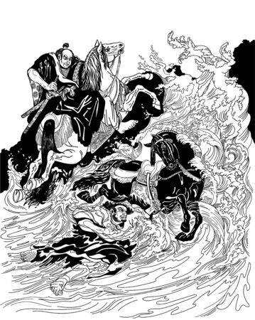 Two samurai horsemen crossing a stormy sea. One warrior with a black horse swimming in water, another man, rider on the ground, riding a white horse. Vector illustration in graphic style