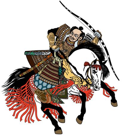 Asian warrior archer. Japanese Samurai horseman sitting on horseback, wearing medieval leather armor and holding a bow. Medieval East Asia soldier riding white pony horse in the gallop. Graphic style vector illustration