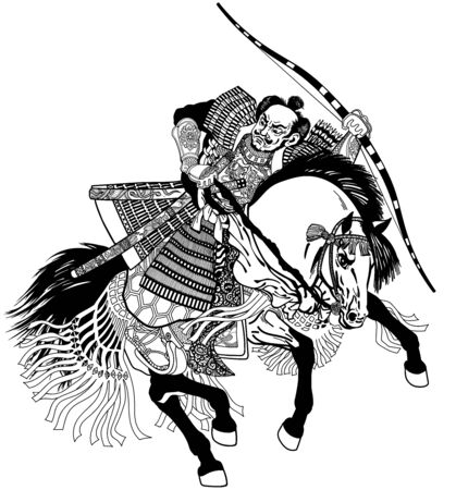 Asian warrior archer. Japanese Samurai horseman sitting on horseback, wearing medieval leather armor and holding a bow. Medieval East Asia soldier riding pony horse in the gallop. Graphic style vector illustration