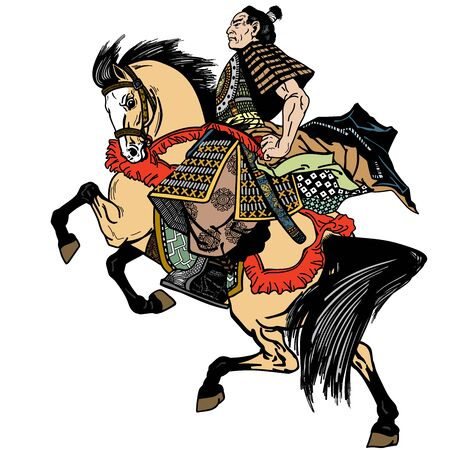 Asian cavalry warrior. Japanese Samurai horseman sitting on horseback, wearing medieval leather armor. Medieval East Asia soldier riding a pony horse in the gallop. Side view. Vector illustration in graphic style