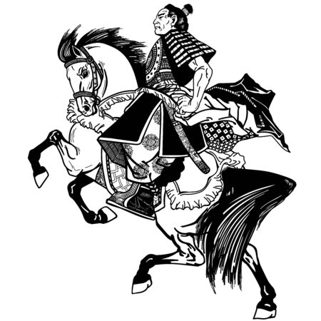 Asian cavalry warrior. Japanese Samurai horseman sitting on horseback, wearing medieval leather armor. Medieval East Asia soldier riding a pony horse in the gallop. Side view. Black and white vector illustration in graphic style