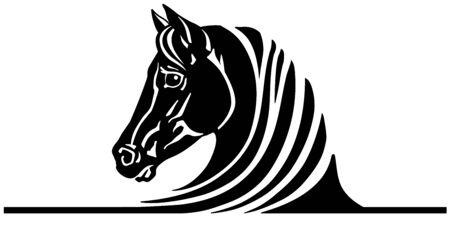 head of black horse. Emblem, tattoo template Ilustração