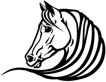 head of Arabian horse in profile. Emblem, tattoo template. Black and white outline vector illustration