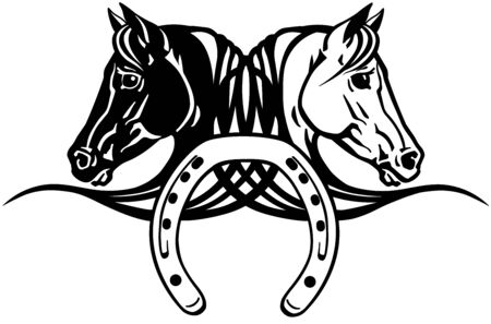 decorative heads of black and white horses in profile with horseshoe. Icon, emblem, tattoo style vector illustration Illustration