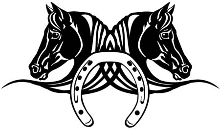 decorative heads of black and white horses in profile with horseshoe. Icon, emblem, tattoo style vector illustration Stock Illustratie