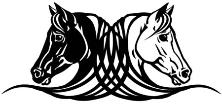 heads of black and white horses in profile.  Icon, emblem, tattoo style vector illustration