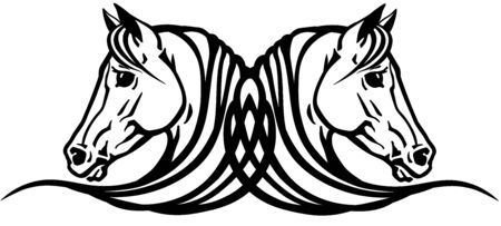 Two heads of Arabian horses in profile. Icon, emblem, tattoo style black and white vector illustration