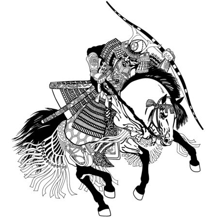 Japanese samurai horse rider dressed in full leather armor, helmet and war mask. East Asia archer horseman holding a bow. Medieval Asian warrior sitting on horseback and riding pony in the gallop. Black and white vector illustration