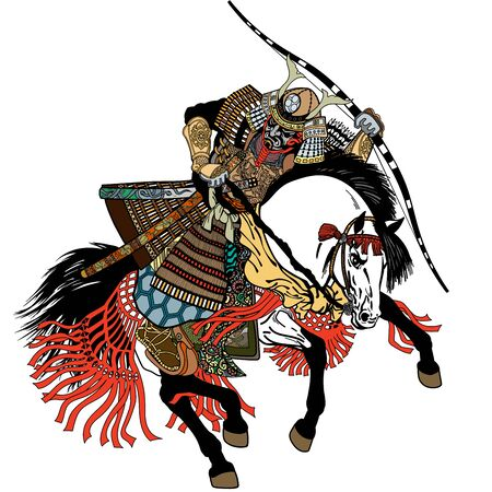 Japanese samurai horse rider dressed in full leather armor, helmet and war mask. East Asia archer horseman holding a bow. Medieval Asian warrior sitting on horseback and riding pony in the gallop. Graphic style vector illustration