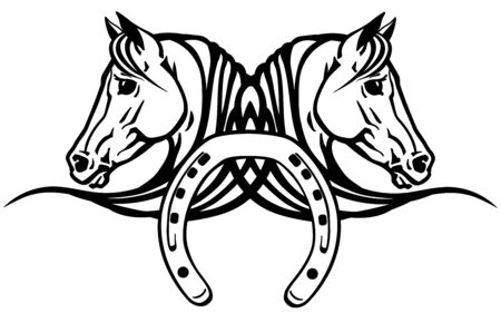 decorative heads of Arabian white horses in profile with horseshoe. Icon, emblem, tattoo style vector illustration Stock Illustratie