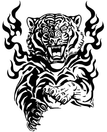 Roaring tiger in tongues of flame. Angry wild big cat. Front view. Black and white tattoo style vector illustration