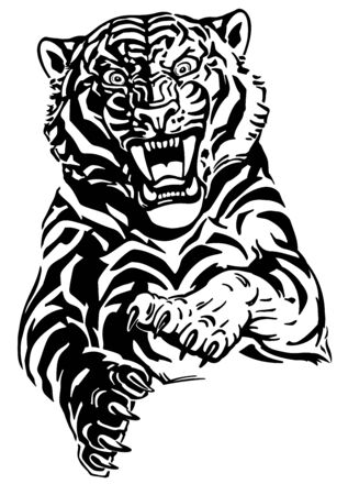 Angry leaping tiger. Jumping big cat. Front view. Black and white tattoo style vector illustration