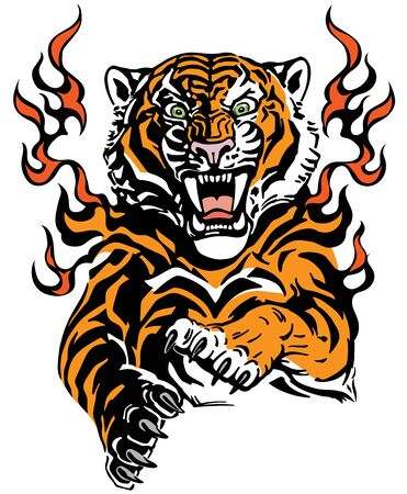 Roaring tiger in tongues of flame. Angry wild big cat. Front view. Tribal tattoo style vector illustration Stock Illustratie