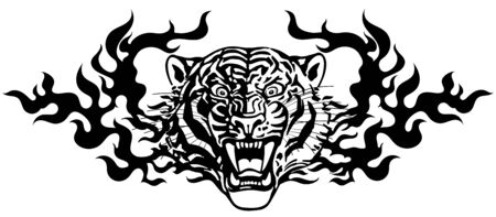 Head of roaring tiger in tongues of flame. Angry wild big cat. Front view. Black and white Tribal tattoo style vector illustration