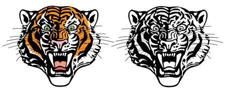 cabeza de tigre rugiente. Gato grande enojado. Vista frontal. Ilustración de vector de estilo de tatuaje de color y negro blanco