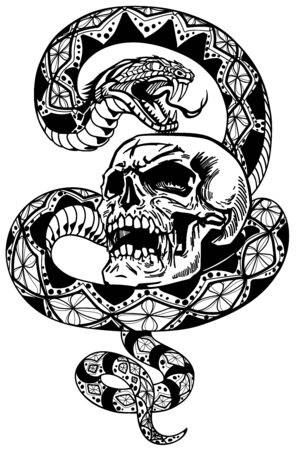 snake coiled round the human skull. Angry dangerous serpent. Tattoo or t-shirt design style vector illustration 向量圖像