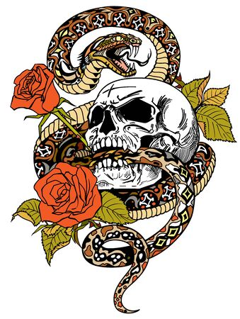 snake coiled round the human skull and roses. Angry dangerous serpent and flowers . Tattoo style or t-shirt design vector illustration
