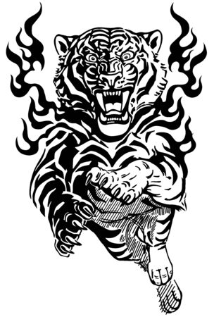 Jump of roaring tiger in tongues of flame. Angry wild big cat. Front view. Tribal tattoo style black and white vector illustration
