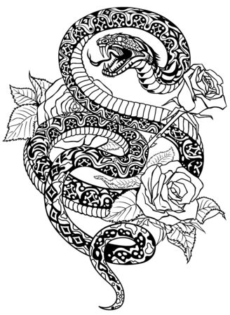 snake coiled round the roses. Angry dangerous serpent and flowers.Black and white Tattoo style or t-shirt design vector illustration Stock Illustratie