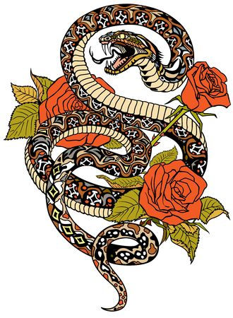 snake coiled round the roses. Angry dangerous serpent and flowers. Tattoo style or t-shirt design vector illustration Stock Illustratie