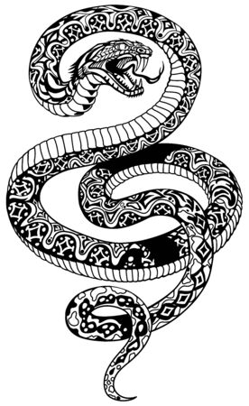 angry snake. Attacking coiled serpent. Black and white tattoo style isolated vector illustration Stock Illustratie