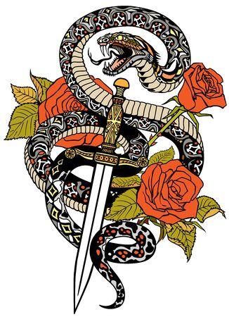 Schlange wickelte sich um Rosen und Dolch. Wütende gefährliche Schlange um ein Schwert und Blumen gewickelt. Tattoo-Stil oder T-Shirt-Design. Isolierte Vektorillustration