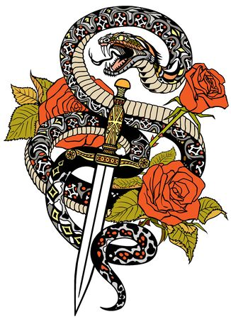 snake coiled round the roses and dagger. Angry dangerous serpent wrapped around a sword and flowers. Tattoo style or t-shirt design. Isolated vector illustration