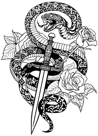 Schlange wickelte sich um Rosen und Dolch. Wütende gefährliche Schlange um ein Schwert und Blumen gewickelt. Tattoo-Stil oder T-Shirt-Design. Isolierte Schwarz-Weiß-Vektor-Illustration Vektorgrafik