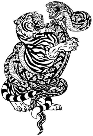 fight between tiger and snake. Angry reptile coiled the big cat. Graphic style vector illustration. Black and white tattoo Stock Illustratie